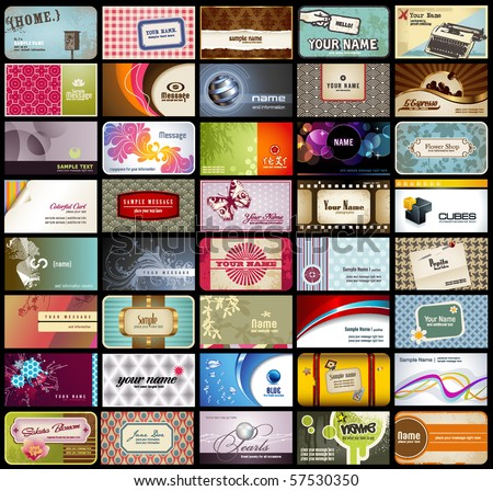 variety of 40 detailed horizontal business cards on different topics - stock vector