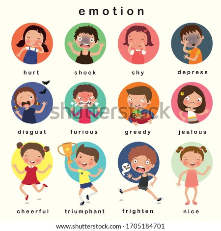Variety of emotions children, kids face with different expressions. vector, illustration Foto d'archivio ©