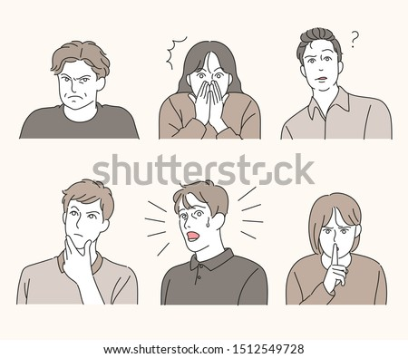 Variety of facial expressions. hand drawn style vector design illustrations.