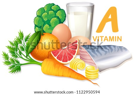 Variety of foods containing vitamin A illustration