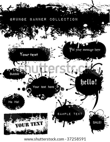 Variety of Grungy and Floral Banners - stock vector