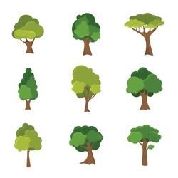Variety of hand drawn deciduous trees illustration set