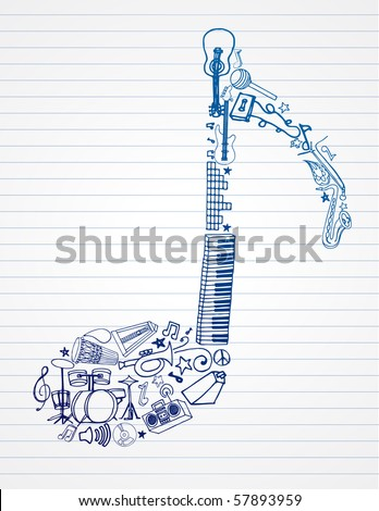 stock vector : variety of hand drawn instruments makes up this musical note