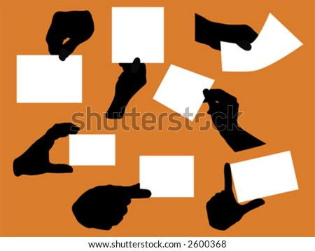 variety of hand silhouettes holding blank papers