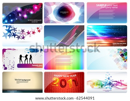 variety of 12 horizontal business cards