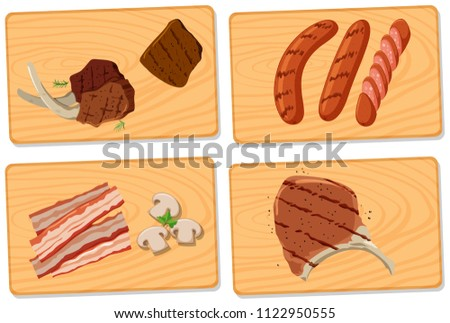 Variety of meat on chopping boards illustration