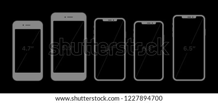 Variety of modern white icon silhouette set smartphone mobile tablet pc with blank screen isolated on black background