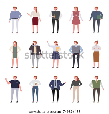 variety of outfits for office workers vector illustration flat design