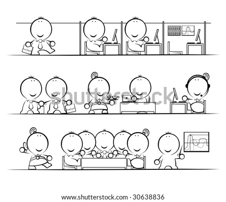 Variety of poses in business personage implementation