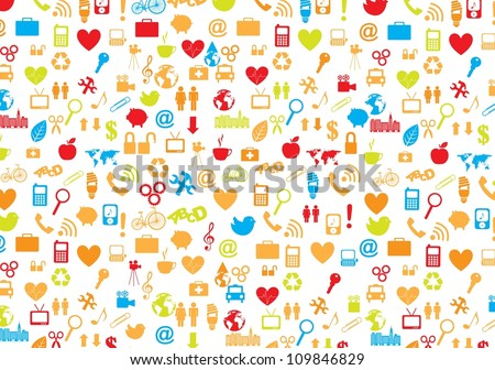 variety of symbols of communication, love, world, family and health care