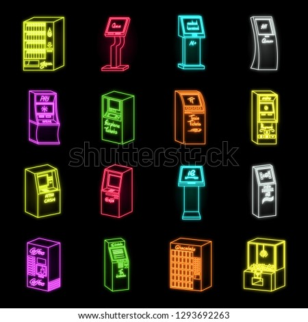 variety of terminals neon icons