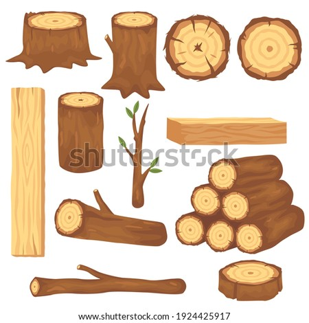 Variety of wood logs and trunks flat pictures set for web design. Cartoon wooden lumbers, planks and branches isolated vector illustration collection. Forestry construction materials concept