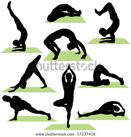 variety of yoga poses silhouettes these illustrations are