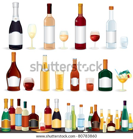 Variety popular alcohol Beverage Bottles from Bar, vector clip art isolated on white. #80783860