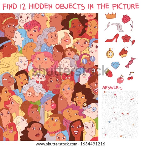 Variety women. Diverse female faces. International women's day. Find 12 hidden objects in the picture. Puzzle Hidden Items. Funny cartoon character. Vector illustration