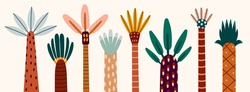 Various abstract Palms. Short and tall trees. Different interpretations of wood and leaves. Hand drawn colorful Vector set. Trendy illustration. Cartoon style, Flat design. Every tree is isolated