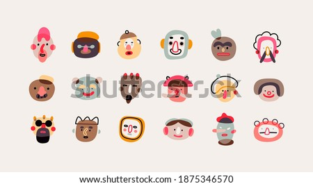 Various abstract People and creatures. Faces, heads. Characters, avatars. Different Icons and logos. Cute hand drawn trendy Vector illustrations. Cartoon style. Flat design. All elements are isolated