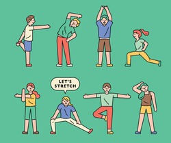 Various actions of preparation movement. flat design style minimal vector illustration