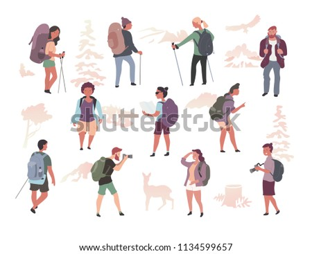 Various active people with backpacks hiking, exploring wild nature, trekking. Male & female characters isolated flat illustration