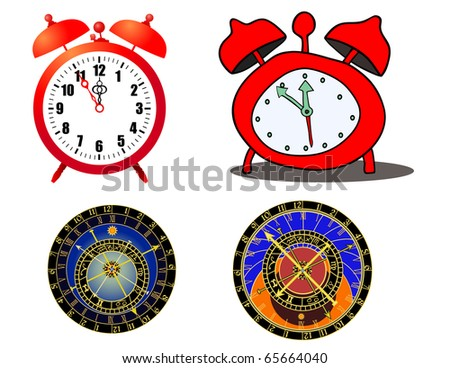 Various alaramclock and astronomical clock - vector
