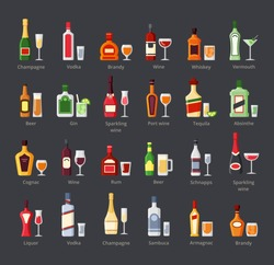 Various alcohol bottles with glasses flat icons set. Bar beverages, booze. Whiskey, rum, vodka, cognac drinks, cocktails and shots. Liquors bottles with labels cartoon illustrations isolated on white
