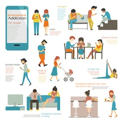 Various and diverse people, multi-ethnic, using smart phone in concept of smartphone addiction. Flat design, simple character and easy to use for your purpose.