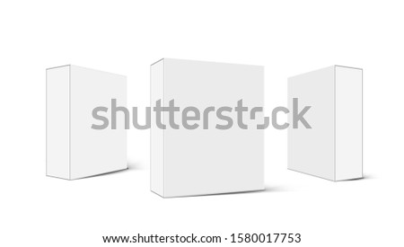 Various Angle 3D Blank Package Box Set. EPS10 Vector
