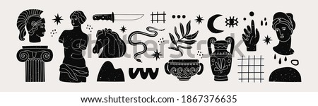 Various Antique statues, branch, amphora, column. Different objects. Mythical, ancient greek or roman style. Hand drawn Vector illustration. Classic statues in modern style. All elements are isolated