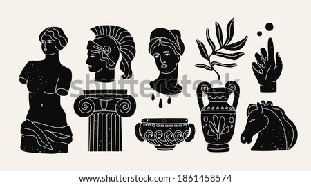 Various Antique statues, branch, amphora, column. Mythical, ancient greek or roman style. Hand drawn Vector illustrations. Stamp texture. Classic statues in modern style. All elements are isolated
