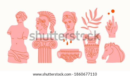 Various Antique statues. Heads of woman, knight, horse. Branch, amphora, hand. Mythical, ancient style. Hand drawn Vector illustration. Classic statues in modern style. All elements are isolated