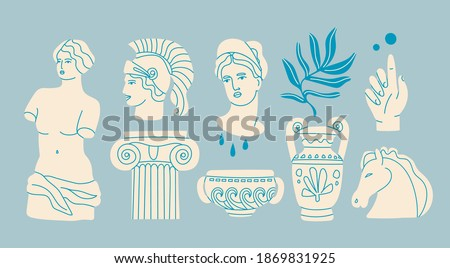 Various Antique statues. Heads of woman, knight, horse. Branch, amphora, hand. Mythical, ancient greek style. Hand drawn Vector illustration. Classic statues in modern style. All elements are isolated Photo stock ©