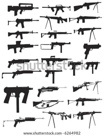 Various assault rifles and guns