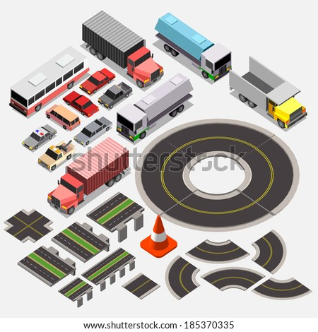 Various Automobiles and Isometric City Map Kit, Trucks, Buses. Isometric Vector Illustration