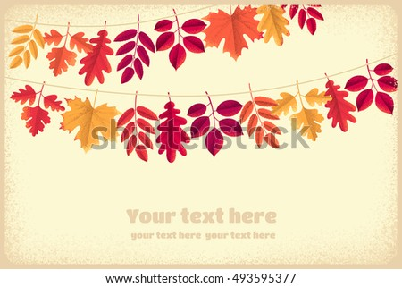 Various autumn leaves garland horizontal template. Maple, oak, mountain ash, rowan, hawthorn. Retro vector illustration. Place for your text. Design for poster, invitation, card, banner, flyer #493595377