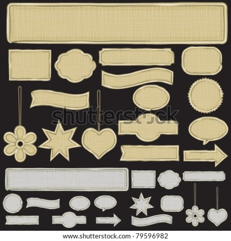 Various banners and symbols.Various textured banners, shapes, symbols and labels in two colors.