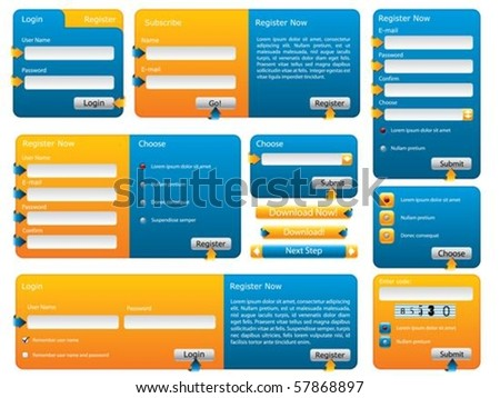 Various blue and orange website form set