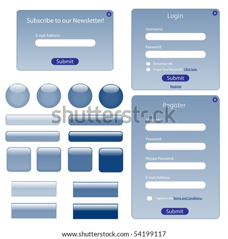 Various blue web forms and buttons.