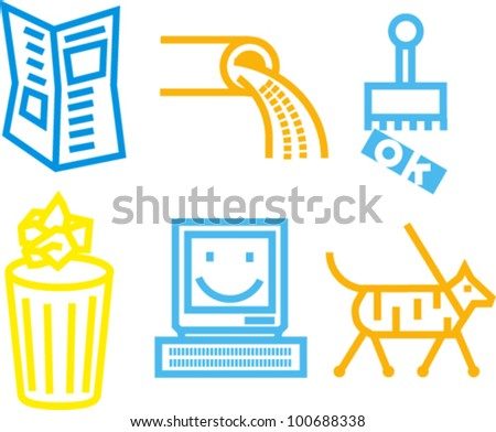Various bold line icons - stock vector