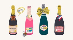 Various Bottles of Champagne. Different shapes and colors of bottles. Prosecco, Rose, Brut Sparkling wines. Hand drawn colorful Vector illustration. Celebration concept. All elements are isolated