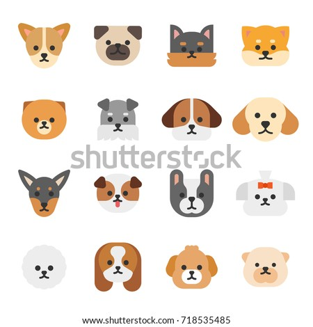 various breed dog face icons