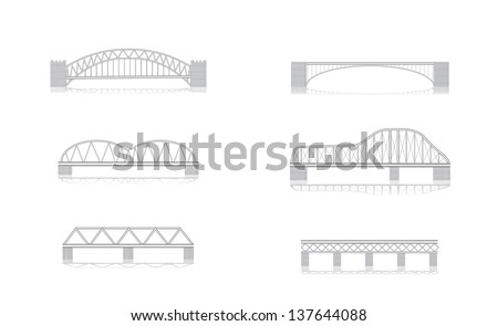 various bridge grayscale vector