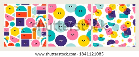 Various bright basic Geometric Figures with face emotions. Different shapes. Hand drawn trendy Vector illustrations for kids. Cute funny characters. Set of three Square Seamless Patterns, Backgrounds Stockfoto ©