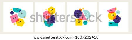 Various bright basic Geometric Figures with face emotions. Different shapes. Layered colors. Hand drawn trendy Vector illustration for kids. Cute funny characters. Set of four cards