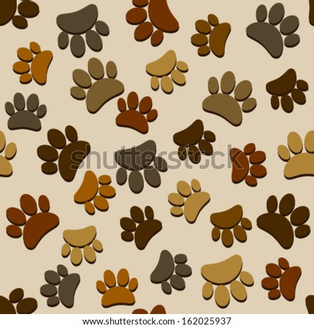 various brown paws seamless pattern