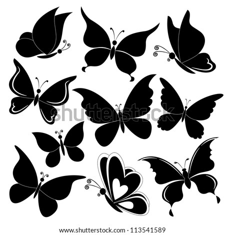 Various butterflies, black silhouettes on white background. Vector