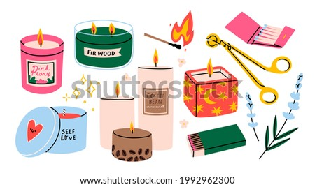 Various Candles. Different shapes and sizes. Pillar, jar candle, square, container candle, multi wick. Decorative wax candles for relax and spa. Matches, candle snuffer. Hand drawn Vector set