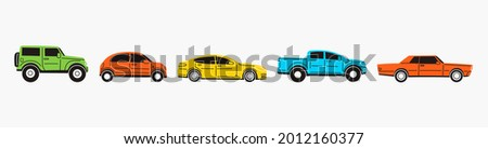 Various Cars or vehicles. Different types of cars: sedan, SUV, pickup, coupe, hatchback, retro car. Automobile, motor transport concept. Hand drawn trendy Vector illustration. Every car is isolated Photo stock ©