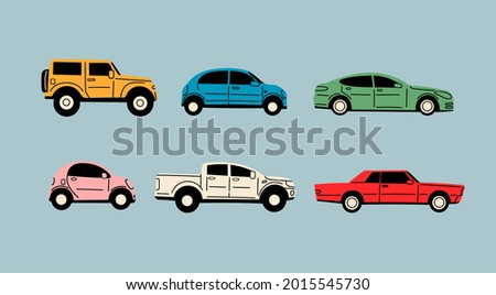 Various Cars or vehicles. Different types of cars: sedan, SUV, pickup, coupe, hatchback, retro car. Automobile, motor transport concept. Hand drawn trendy Vector illustration. Every car is isolated
