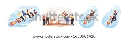Various cartoon people moving top on rocket and crash set vector graphic illustration. Collection of successful team moving high isolated on white. Business motivation, fail and startup development