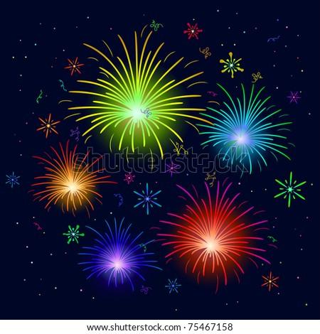 various celebratory firework